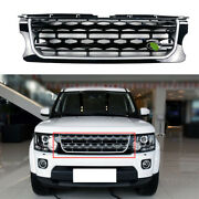 Fit For Discovery 4 2014-2016 Black Silver Front Bumper Center Hood Grill Mesh