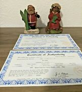 Lot Of 2 Tom Clark Santa's North Poles And Mrs. Claus Iii Christmas Statues Gnomes