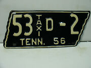 1956 Tennessee License Plate  53 D - 2 Taxi    Vintage 6291