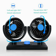 12v 5w Portable Car Truck Double Head Cooling Fan 360° Rotatable Car Cooler Lo