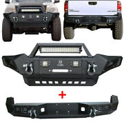 Vijay Front And Rear Bumper W/winch Plate Black Textured For 05-15 Tacoma