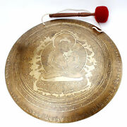 18.5 Inches Buddha Shakti Engraved Gong-mantra Carved Gong-nepalese Temple Gong