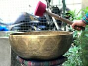 Seven Chakra Carved Singing Bowl- Large Healing Meditation Sound Therapy Yoga