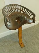 Antique Iron Tractor Seat Chair 18w Adriance Buckeye 9b Farm Not Painted Orig.