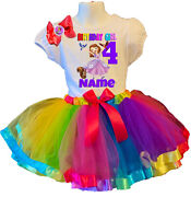 Sofia The First Shirt Name Birthday Party 4th 4 Personalized Rainbow Tutu Dress