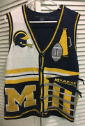 Vintage Michigan Wolverines Button-down Sweater Vest Birch Bros Ugly Christmas S