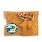 Vintage Ramar Outdoors Hunt/fish Deer And Fish Clock Lacquered Wooden Plaque
