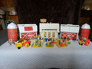 Vintage 110 Piece Fisher Price Little People- Family Farm W/silo And School House