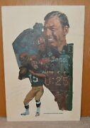 Signed By Bart Starr Original Poster Illustration Lincoln-mercury Green Bay