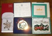 Gorham Silver Plate Snowflake And 2 White House Christmas Ornament In Boxes