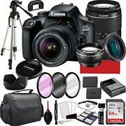 Canon Eos 4000d Dslr Camera With 18-55mm F/3.5-5.6 Zoom Lens, 64gb Memory