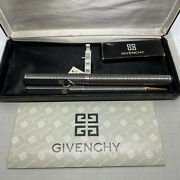 1080 Givenchy Fountain Pen Set Stainless Steel Etched Motif Nos Made In Japan