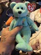 Ty Beanie Baby Ariel 2000 Plush Blue Bear With Flowers And Sun On Chest