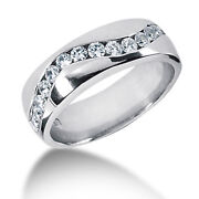 0.90 Ct Real Diamond Engagement Men Band 14k Solid White Gold Ring Size 9 10.5