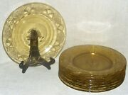 Federal Rosemary Dutch Rose Amber Yellow Depression Glass 9 Dinner Plates 9 1/2