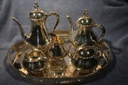 Vintage Reed And Barton Provincial 7040 5 Pc Silverplated Tea /coffee Set And Tray