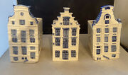 Vintage Delft Blauw Handpainted Amsterdam Canal House Planters-holland Set Of 3