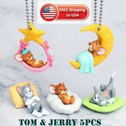 Tom And Jerry Keychain Collection Toy Set 5pcs Sleeping Figure Keyring 2021 New