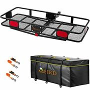 Upgraded 60 X 24 X 6 Hitch Mount Folding Cargo Carrier Fits To 2'' Receiver