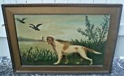 Antique Oil On Canvas Painting Duck Hunting Dog Signed Mallard Decoy Retriever