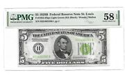 1928b 5 St Louis Pmg 58 Epq Light Green Seal Poker Number Rare Gold Clause