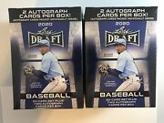 Lot Of 2 - 2020 Leaf Draft Baseball Blaster Boxes 50 Card Set And 2 Autos Per Box
