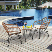 Patio Rattan Furniture Set 3-pieces Cushion Chair And Table Outdoor Bistro Garden