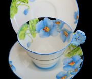 Star Paragon Iceland Poppy Handle Tea Cup And 2 Saucers