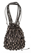 Christian Dior Black Leather And Blue Oblique Tech Fabric Net Tote Bag