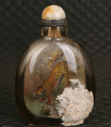 Chinese Natural Crystal Hand Painting Leopard Crystal Snuff Bottle