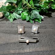 Sterling Silver 950 Mother Of Pearl And Pearl Cufflinks And Tie Clip. Made In Japan