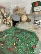 Mixed Crafting Lot Beads, Wood, Silk Flowers, Safety Pins Floral Tape Christmas