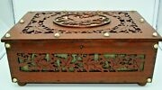 Antique Carved Wooden Box With Bird And Leaves Green Silk Lining