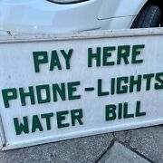 Pay Here. Antique Primitive Folk Art Trade Sign Utility Billing Double Side