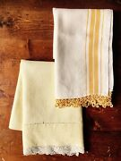 2 Vintage Yellow And White Linen Dish / Tea Towels With Lace Trim