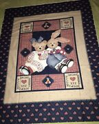 Daisy Kingdom Bunny Bear Tossed Past And Presents 1 Yd Panel 1 Yd Fabric 1997