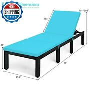 Outdoor Patio Rattan Chair Wicker Chaise Lounge Chair Cushion Height Adjustable