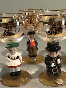 Six Vintage W. Germany Gold Trimmed Wine Glasses With Differentfigures As Stem..