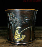 Collect Old China Temple Purple Bronze Gilt Old Man Fishing Statue Pen Container