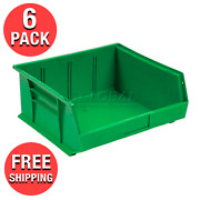 6-pack Green Plastic Stacking And Hanging Bin Small Parts Storage Organizer Bins