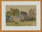 A.e. Wade - Signed And Framed Mid 20th Century Watercolour Farm With A Mill