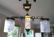 Antique Brass Arts And Crafts 2 Light Gas Chandelier Ceiling Fixture Glass Shades