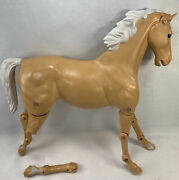 1960s Marx Johnny West Horse Beige Comanche W/ Articulated Head And Legs Broken Le