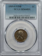 1909-s Vdb Lincoln Cent Pcgs Ms-64 Bn Smooth And Nearly Gem Key-date