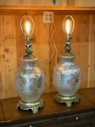 Rare Arevintage Opal Iridescent Table Lamps Pearl Floral Gold Victorian Set Of 2
