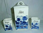 Vintage/antique O.m.t. And Bro. Germany 4022 Ceramic Rice And Spice Containers