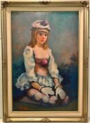 Original Signed Philippe Alfieri Harlequin Clown Girl Oil On Canvas Painting