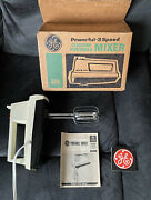 Vintage Ge General Electric 3-speed Hand Mixer M19 W/ Box Manual And Label Tested