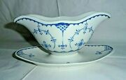 Vintage Denmark Furnivals England Blue And White Gravy/sauce Boat, Attached Plate