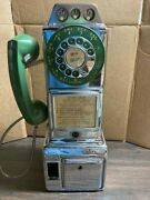 Vintage Payphone Chrome And Green Automatic Electric Rotary W/ Coin Slot
